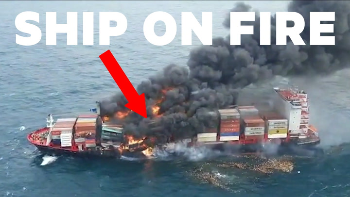 WATCH: Unbelievable footage shows a massive container ship on fire in the Indian Ocean